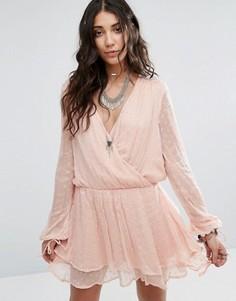Платье мини с запахом Free People Daliah - Розовый