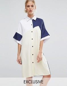 Платье-рубашка в стиле колор блок ZACRO - Мульти
