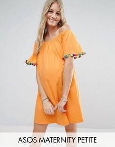 Сарафан с открытыми плечами и помпонами ASOS Maternity PETITE - Оранжевый