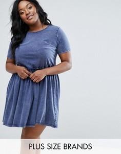 Короткое приталенное платье с эффектом кислотной стирки Junarose - Синий