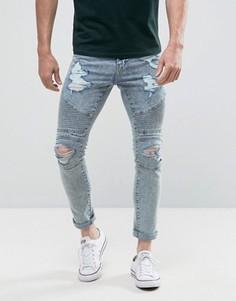 Светлые зауженные байкерские джинсы с рваной отделкой New Look - Синий