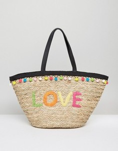 Плетеная пляжная сумка с помпонами Floozie - Мульти
