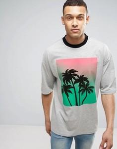 Oversize-футболка с блестящим пальмовым принтом ASOS - Серый