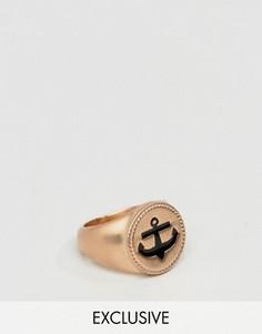 Кольцо-печатка цвета розового золота с якорем Simon Carter - Золотой