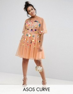 Сетчатое платье мини с пайетками ASOS CURVE - Мульти