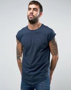 Длинная футболка с короткими рукавами Only & Sons - Темно-синий