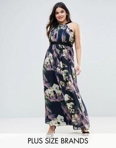 Платье макси с цветочным принтом Little Mistress Plus - Черный