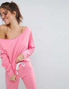 Свитшот для дома со спущенными плечами и необработанным краем ASOS LOUNGE - Розовый