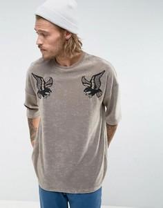 Махровая оversize-футболка с вышивкой ASOS - Бежевый