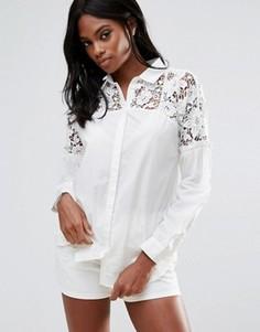 Рубашка с кружевной кокеткой Vila - Белый