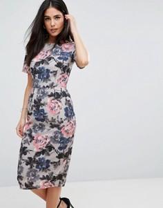 Платье с принтом роз и рукавами-кимоно Paper Dolls - Кремовый