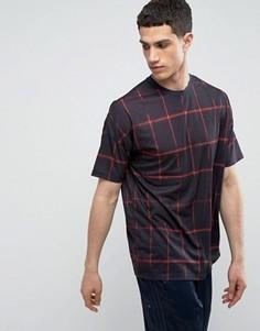 Oversize-футболка в решетчатую клетку ASOS - Темно-синий