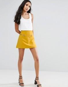 Юбка-трапеция с молнией Vero Moda - Желтый