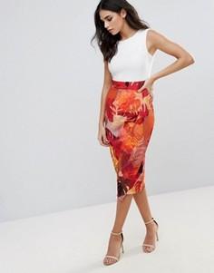 Платье-футляр с тропическим принтом на юбке Closet London - Красный