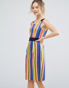 Платье-футляр в полоску с контрастным поясом Closet London - Мульти