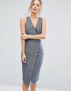 Платье-футляр в полоску с запахом Closet London - Синий
