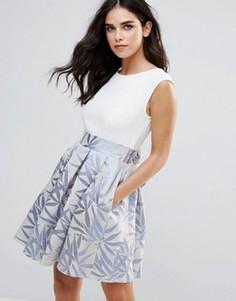 Короткое приталенное платье 2-в-1 Closet London - Синий