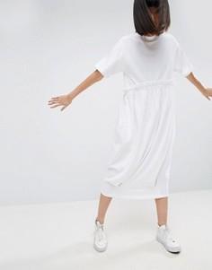 Трикотажное платье-футболка с контрастной оборкой ASOS WHITE - Белый