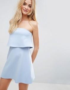 Платье-бандо мини с кроп-топом ASOS - Синий