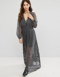 Свободное платье макси Religion - Серый