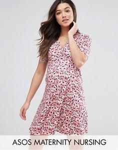 Платье для кормящих мам с запахом и принтом ASOS Maternity TALL - Мульти