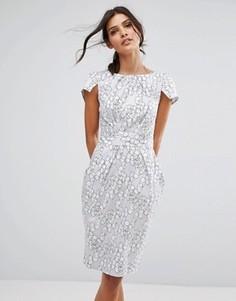 Платье-футляр с принтом и короткими рукавами Closet London - Мульти