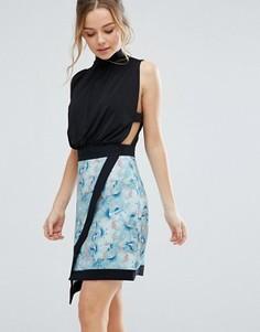 Расклешенная юбка с запахом Closet London - Мульти