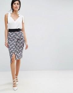 Короткая юбка с запахом Closet London - Мульти
