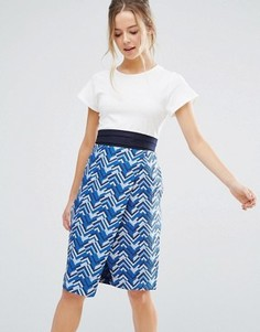 Платье-футляр с принтом и ремнем Closet London - Синий