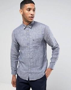 Льняная рубашка с длинными рукавами Selected - Темно-синий