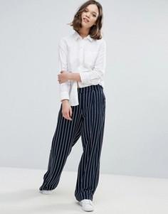Широкие брюки в тонкую полоску Ichi - Темно-синий