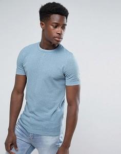 Светло-голубая обтягивающая футболка из фактурного трикотажа ASOS - Темно-синий