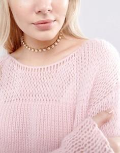 Ожерелье-чокер с искусственными жемчугом New Look - Кремовый
