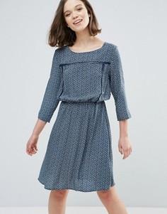 Платье с цветочным принтом Ichi - Темно-синий