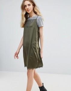 Платье с кружевной вставкой Ichi - Зеленый