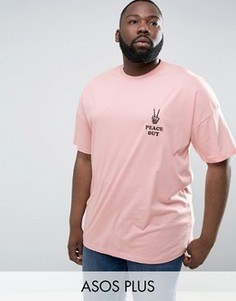 Oversize-футболка с вышивкой Peace Out ASOS PLUS - Розовый