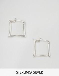Квадратные серьги-кольца Kingsley Ryan - Серебряный