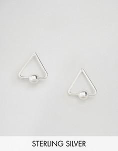 Серьги-гвоздики в виде контурных треугольников Kingsley Ryan - Серебряный