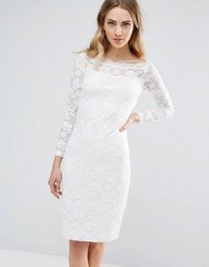 Кружевное облегающее платье с широким вырезом Ichi - Белый