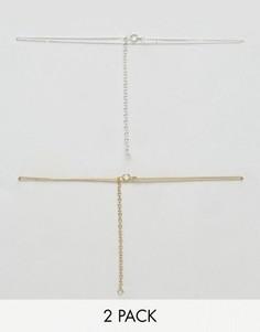 Набор из 2 ожерелий-чокер из позолоченного серебра ASOS - Мульти