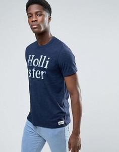 Темно-синяя узкая меланжевая футболка с большим логотипом Hollister - Темно-синий