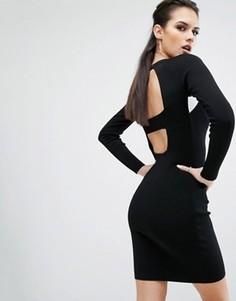Платье с длинными рукавами и вырезами на спине Kendall + Kylie - Черный