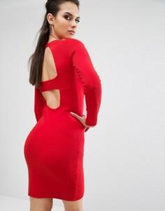 Платье с длинными рукавами и вырезами на спине Kendall + Kylie - Красный