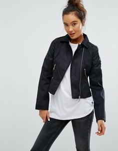 Байкерская полиуретановая куртка Brave Soul - Черный