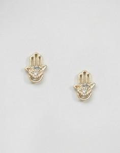 Позолоченные серьги-гвоздики в виде амулетов хамса Pilgrim - Золотой