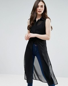 Длинная полупрозрачная рубашка без рукавов Pussycat London - Черный