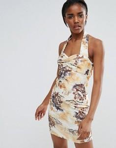 Платье мини с принтом и бретелью через шею Pussycat London - Кремовый