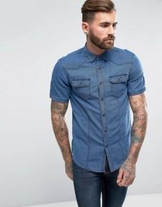 Рубашка в стиле вестерн с короткими рукавами Tokyo Laundry - Темно-синий