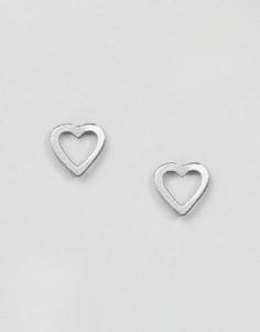 Серьги-гвоздики в виде сердечек Pilgrim - Серый