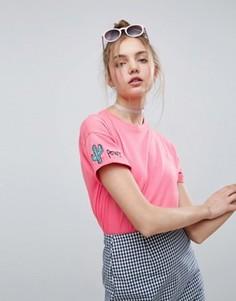 Футболка с вышивкой ASOS - Розовый